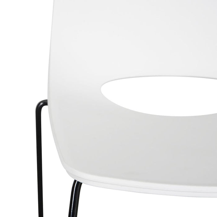 Persy Dining Chair - White Seat - Black Legs