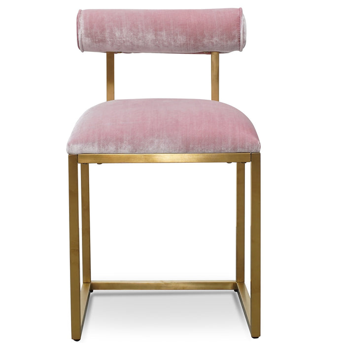 Prato Dining Chair In Pink Velvet - Brushed Gold Base