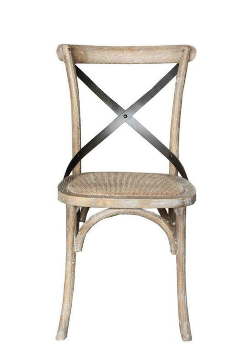 Province Cross-Back Solid Oak Dining Chair - Grey Wash