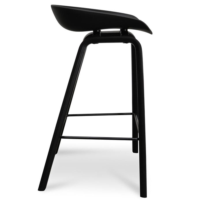 Rachel 65cm Bar Stool - Black Plastic Seat - Black Frame