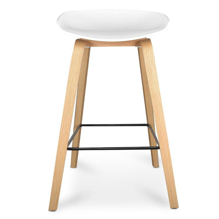 Rachel 65cm Bar Stool in White And Natural