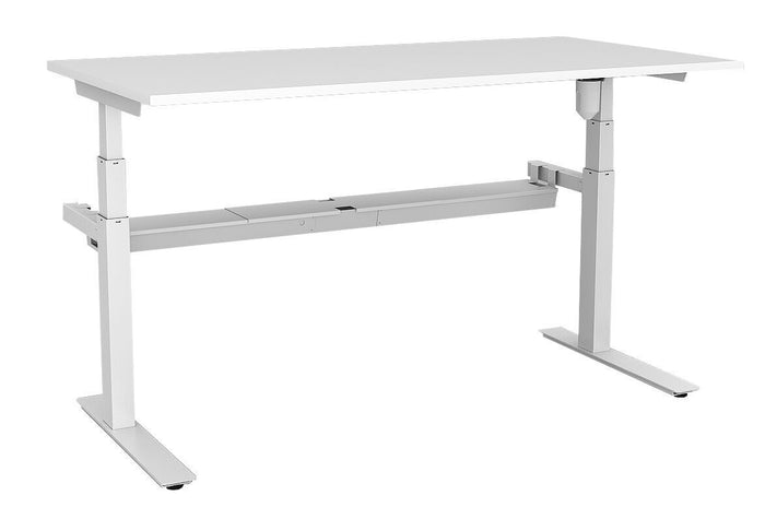 Rapid ELectric Paramount Single Height Adjustable Office Workstation Without Screen - White