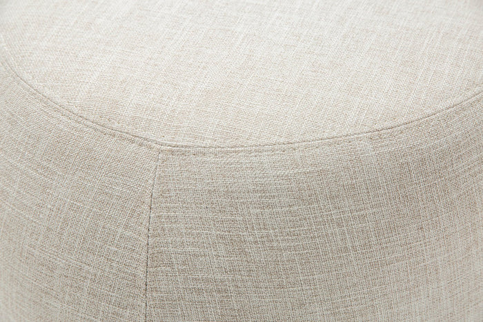 Raven Fabric Cushion Ottoman - Beige