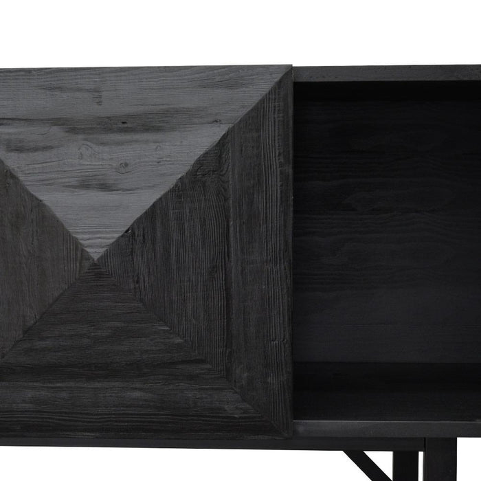Rayan Reclaimed Pine 180cm Side Cabinet - Black