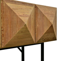 Rayan 1.8m Reclaimed Pine Side Cabinet - Natural - Black Base