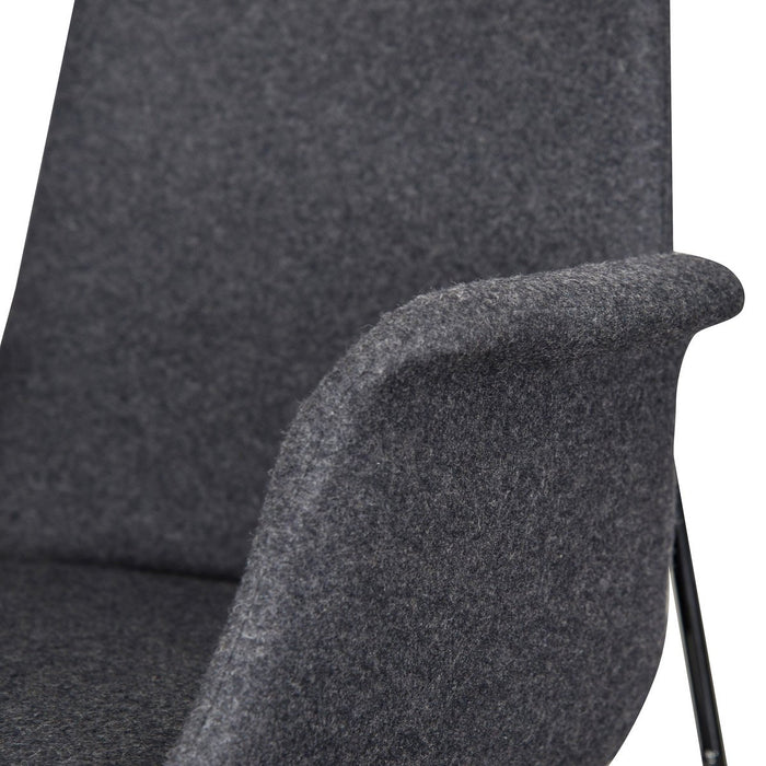 Repose Fabric Dining Chair in Grey with Black Legs