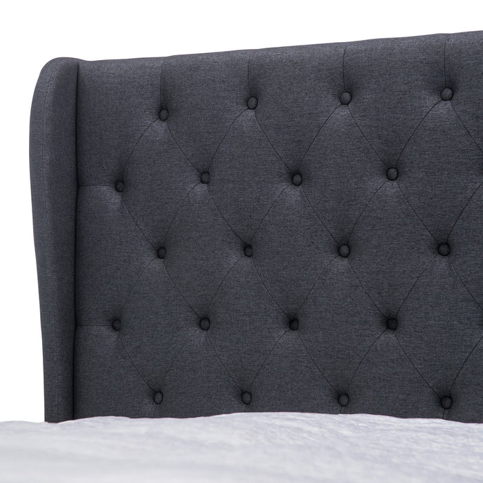 Rhea Fabric Double Bed Frame - Dark Grey