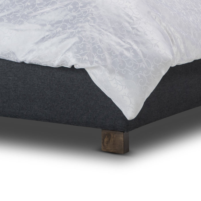 Rhea Fabric Queen Bed Frame - Dark Grey
