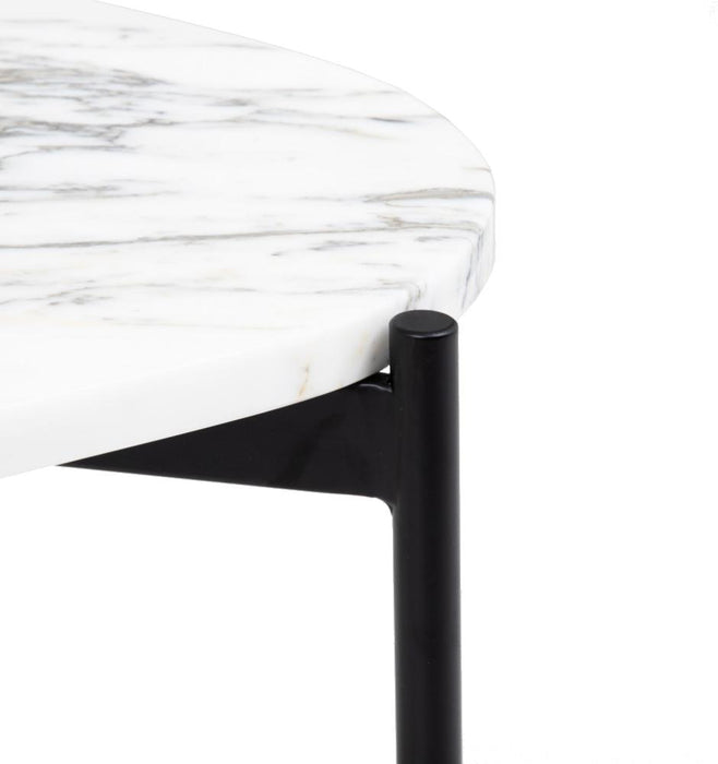 Rhonde Oval Marble Side Table - White