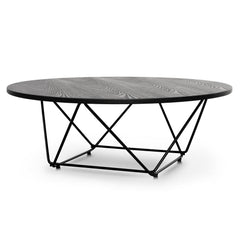 Robin 100cm Coffee Table - Black Ash Veneer - Black Legs
