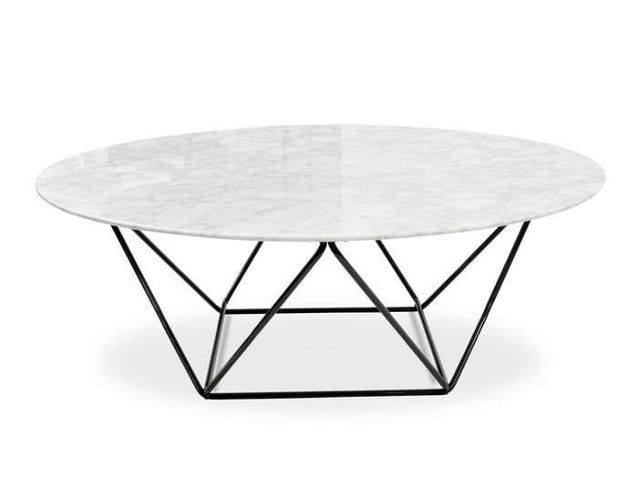 Robin 100cm Round Marble Coffee Table With Black Base