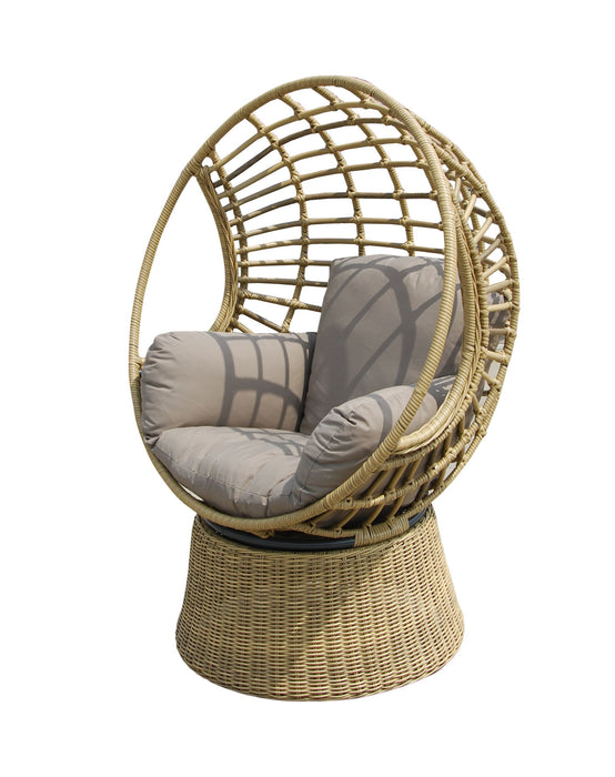 Robin Wicker Outdoor Swivel Chair - Natural