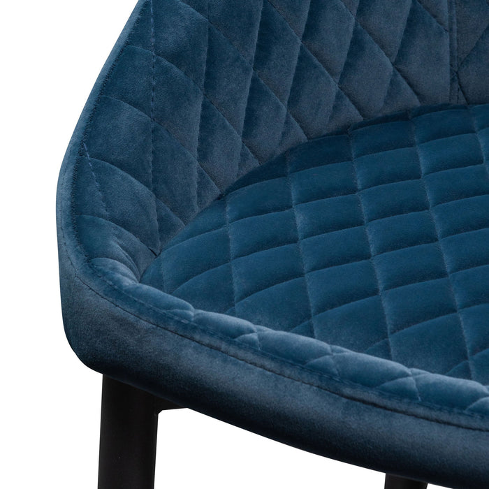 Rolf Dining Chair - Navy Blue Velvet in Black Legs