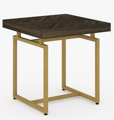 Roma Herringbone Side Table - Walnut