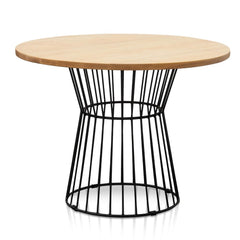 Romeo 100cm Natural Timber Top Round Dining Table - Black Frame