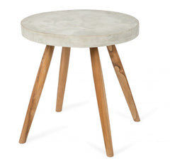 Round Concrete Side Table with Teak Apollo Legs
