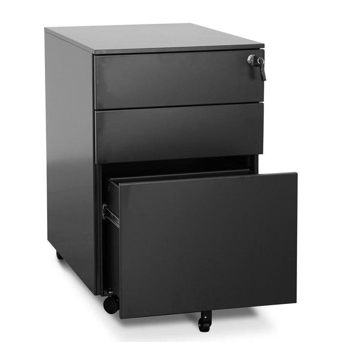 Russel 3 Drawers Mobile Pedestal - Black