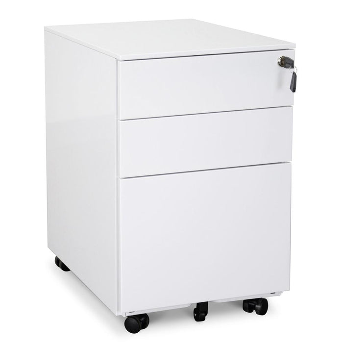 Russel 3 Drawers Mobile Pedestal - White