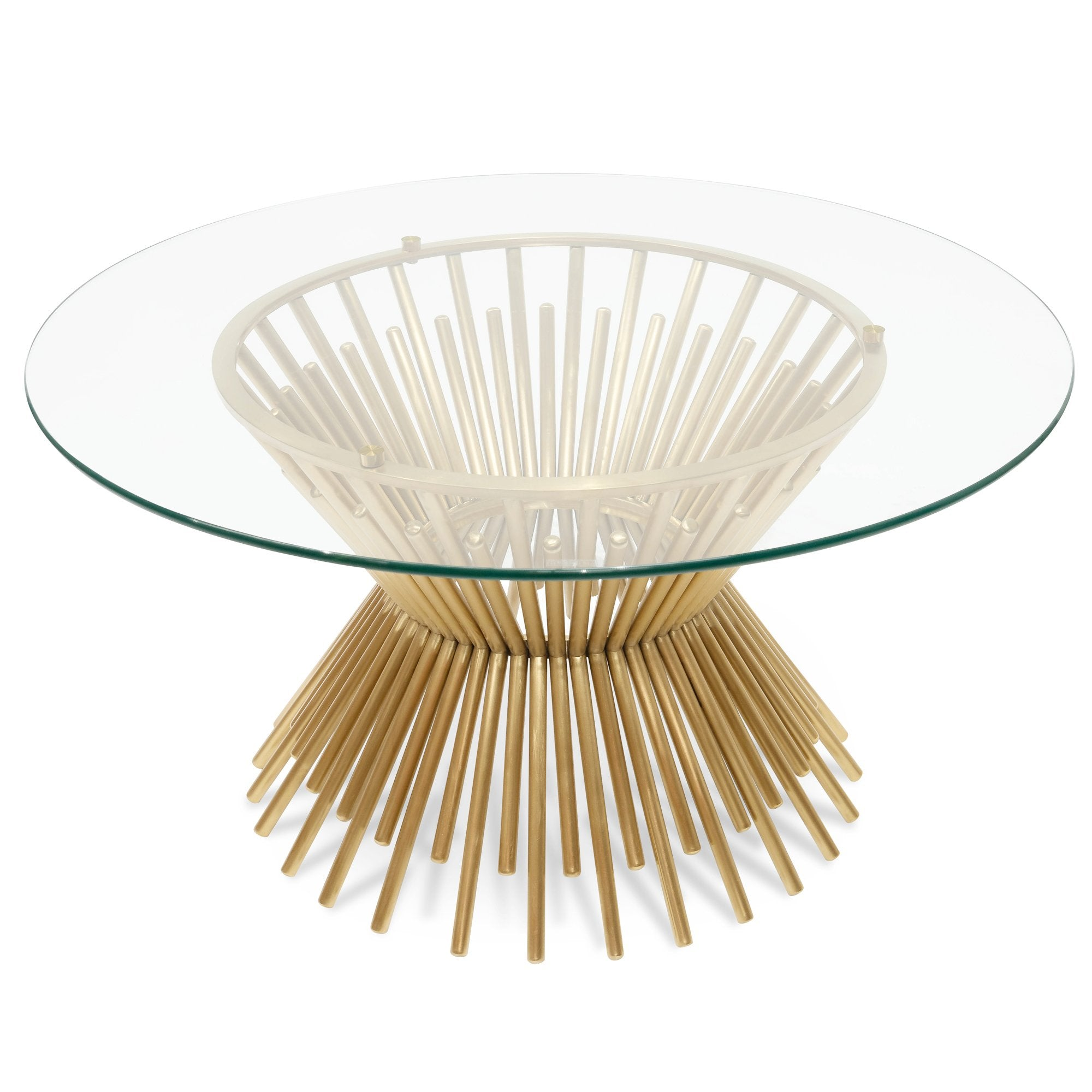 Picture of: Sassy 90cm Round Glass Coffee Table Brushed Gold Base Interior Secrets