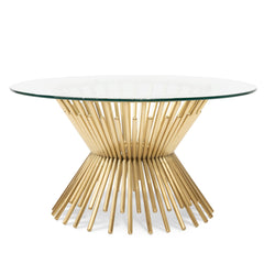 Sassy 90cm Glass Coffee Table - Brushed Gold Base
