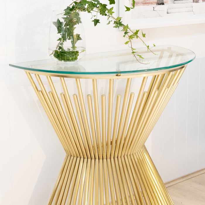 Sassy Glass Console Table - Brushed Gold Base