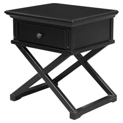 Satarra Cross Legs Black Timber Bedside Table