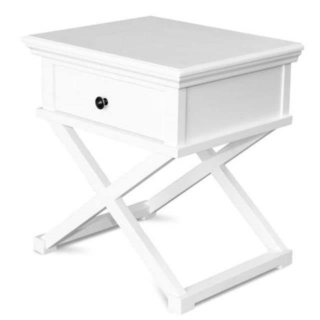 Satarra Cross Legs White Timber Bedside Table