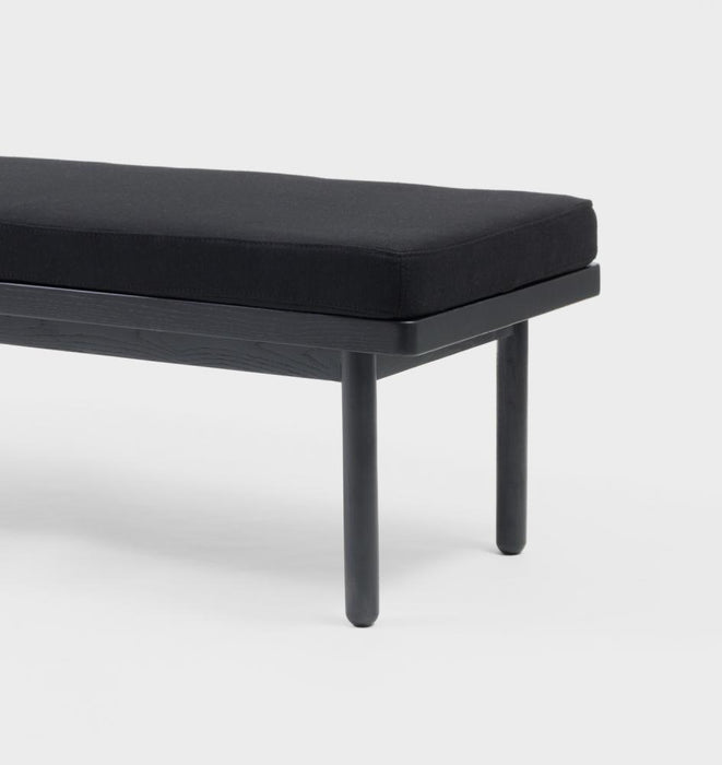 Scout Upholstered Black Ash Wood Bench - Black