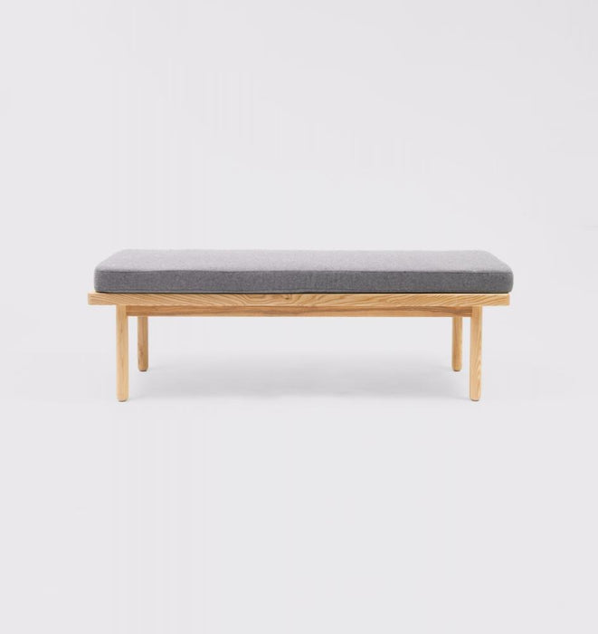 Scout Upholstered Natural Ash Wood Bench - Light Grey
