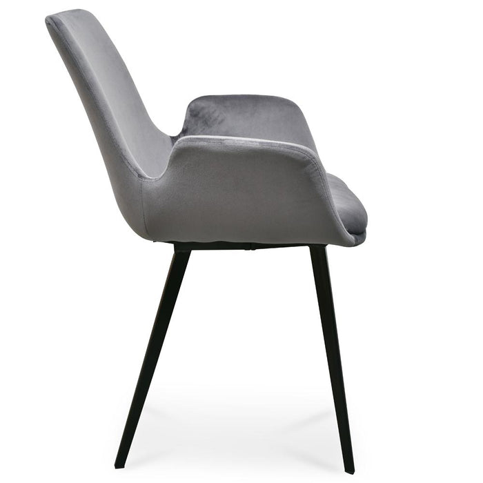 Set of 2 Alice Dining Chair - Dark Grey Velvet