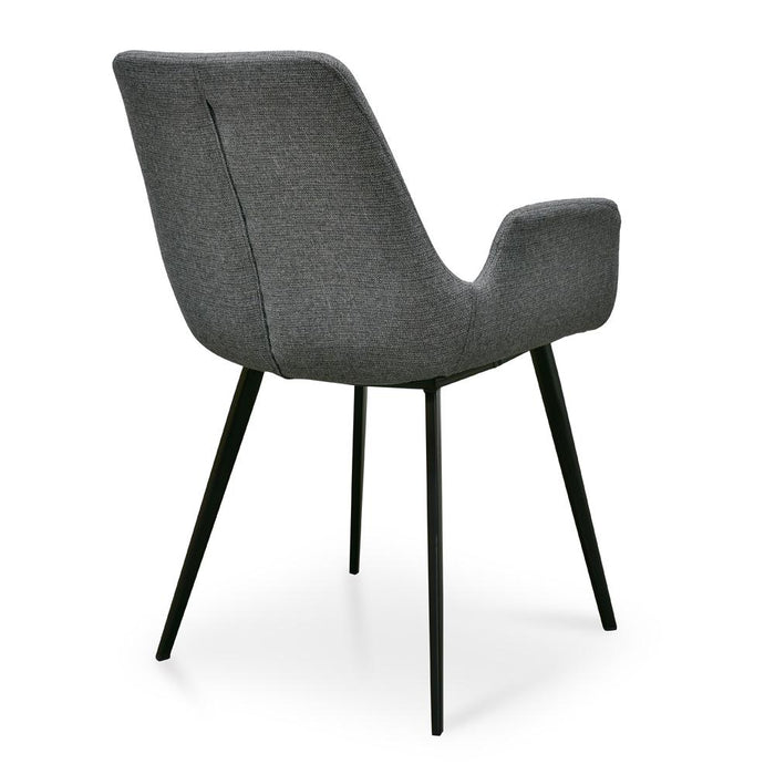Set of 2 - Alice Fabric Dining Chair - Dark Grey