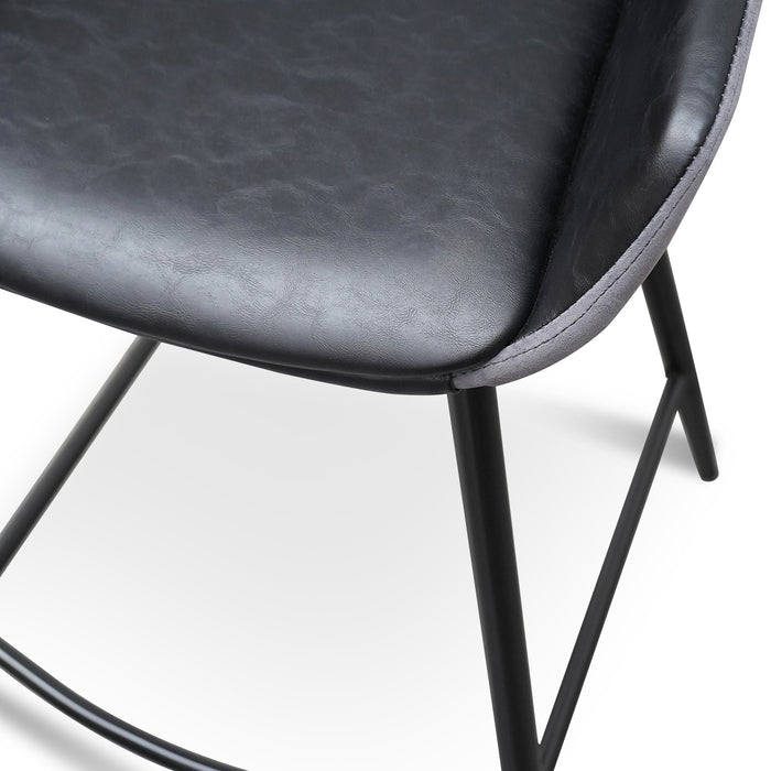Set of 2 - Cody PU Leather 68cm Bar Stool - Antique Black - Charcoal Velvet