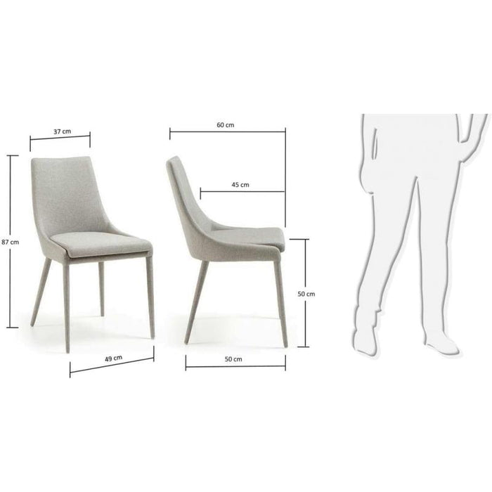 SET OF 2 - Dant Fabric Dining Chair - Light Grey