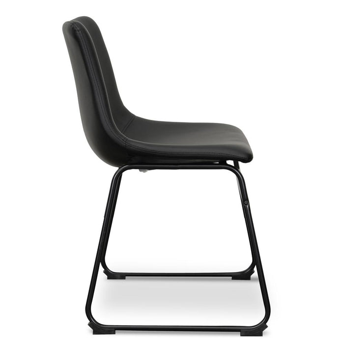 Set of 2 - Darcy Industrial Dining Chair - Black PU