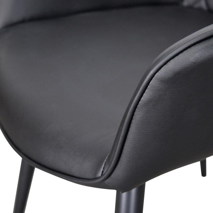 Set Of 2 - George Dining Chair  - Black PU