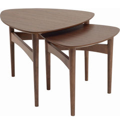 Set Of 2 - Marvin 48.8cm - 60cm Oak Nest Coffee Table in Walnut Veneer