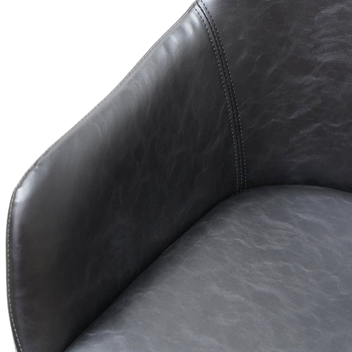 Set of 2 - Cody PU Leather Dining Chair - Antique Black - Charcoal Velvet