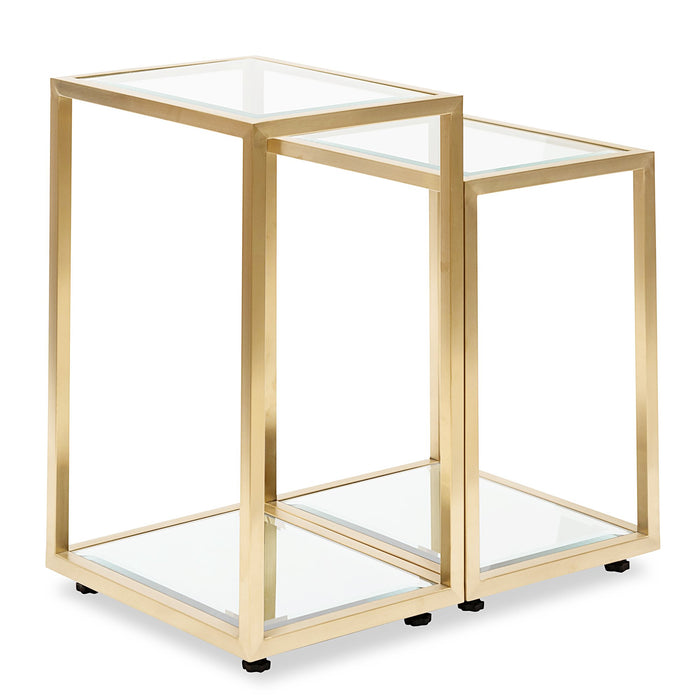 Set of 2 - Oxford Glass Side Table - Brushed Gold Base