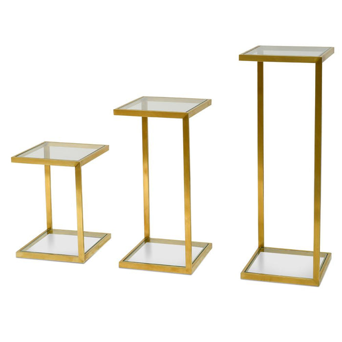 Set of 3 Luke Glass Side Table - Gold Base