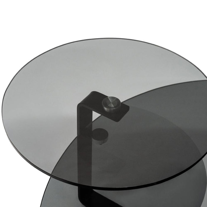 Sharon Smokey 105cm Glass Coffee Table - Black Oak  Top - Black Base