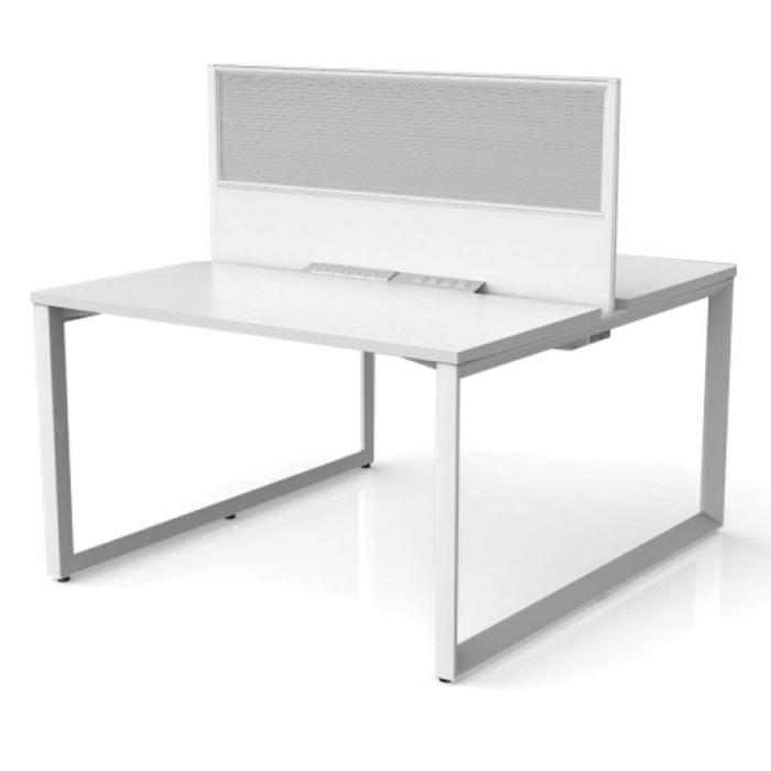 Sixma 2 Person Double Sided Office Workstation - Translucent Screen