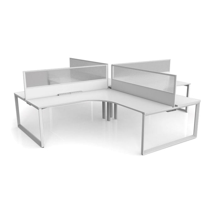 Sixma 4 Person 90 Degree Office Workstation - Translucent Screen