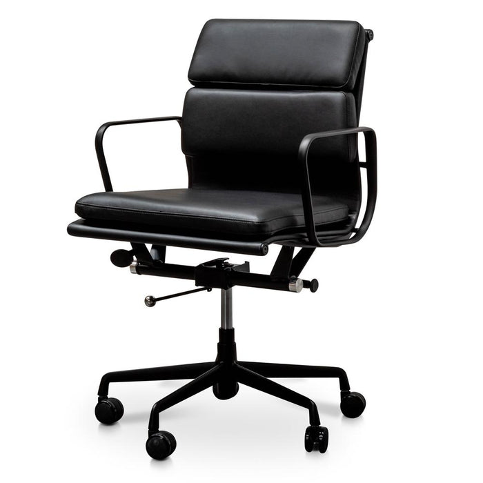 Soft Pad Management PU Leather Boardroom Office Chair in Black - Black Frame