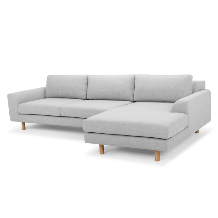 Sonia 3 Seater Right Chaise Sofa - Light Grey