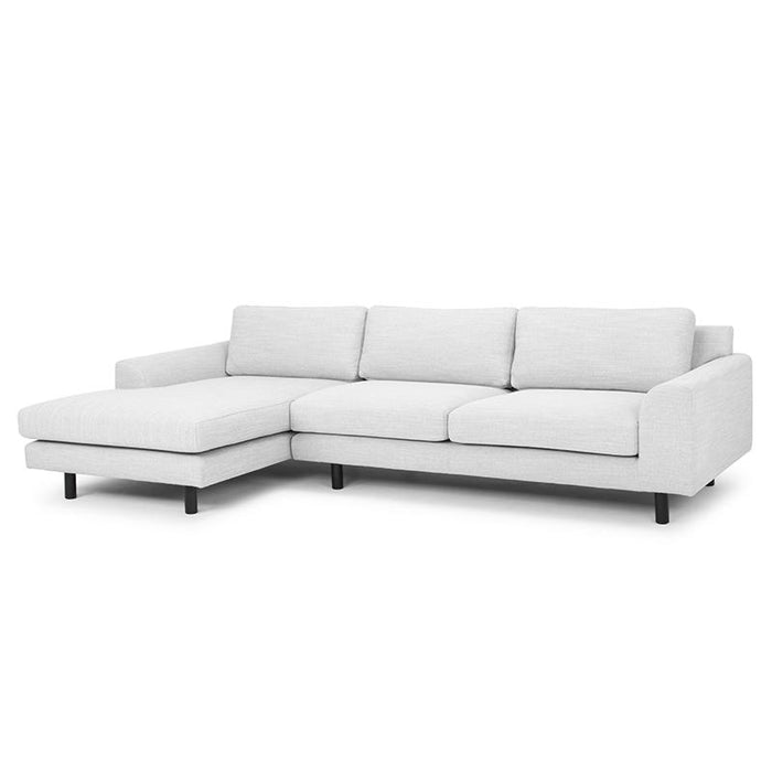 Sonia 3 Seater Sofa in Light Texture Grey - Black legs