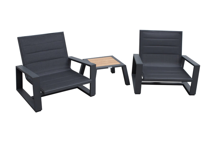 St Lucia Outdoor Lounge Set - 3 Pieces - Charcoal