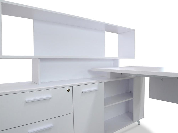 Stylus 160cm Executive Desk with Single Face Top Cabinet - Left Return - White