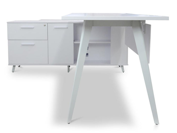Stylus 160cm Executive Office Desk - Left Return - White