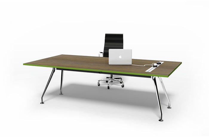 Swift Office Desk 2.4m - Natural Walnut / Green