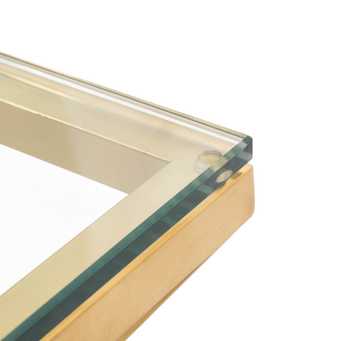 Tafari 1.05m Glass Square Coffee Table - Brushed Gold Base